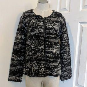 Joe's Jeans grey black boucle wool fuzzy jacket